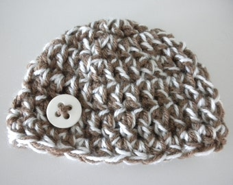 Baby Hat Crochet Newborn Photography Prop Multi Color Brown White with  button