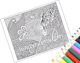 Zentangle Inspired Printable Coloring Page, Instant Download, Paisley Zendoodle Pattern, Page 51