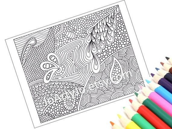 Zentangle Inspired Printable Coloring Page Instant Download Paisley Zendoodle Pattern 51