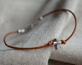 Silver Cross Bracelet - Sterling - Believe - Charm - Leather