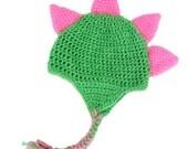 Crochet Dinosaur Dragon Baby Boy Girl Hat, Photography Photo Prop, Size Newborn, Infant, Toddler, Child – Spring Green & Pretty in Pink