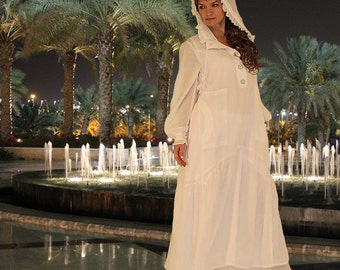 Boho Costume White Summer Bohemian Light Cotton Dress, Pants and Top