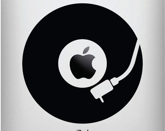 """IPAD - Vinyl Record for the iPad or Tablets - Vinyl Decal (5.25""""w x 5.25""""h) (BLACK)"""