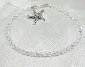 Starfish Bracelet Starfish Anklet Clear Crystal Anklet Clear AB Crystal Swarovski Elements 925 Sterling Silver BuyAny3+Get1 Free