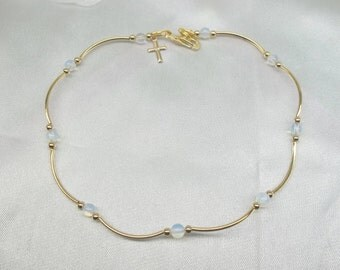 Gold Cross Anklet Moonstone Ankle Bracelet Opalite 14k Gold Anklet Anklet Sea Glass Opal Ankle Bracelet 14k Gold Filled Anklet BuyAny3+1Free