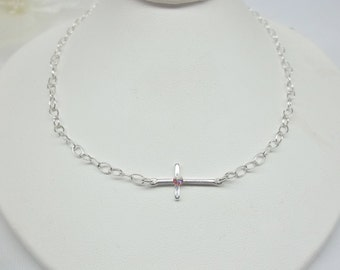 Silver Sideways Cross Necklace Easter Gift For Girlfriend Easter Gift For Daughter Sterling Silver Necklace Cross Jewelry BuyAny3+Get1 Free