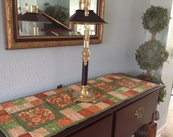 Green, Rust, Beige, Quilted,  Fall Table Runner