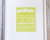 Pecan Pie Kitchen Art Print with Handlettering