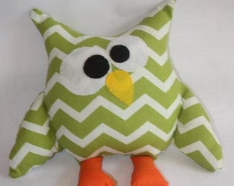 Children's homemade Stuffed owl, made to order owl plush, owl fabric owl, soft owl, owl toy, owl pillow, owl decor, green zigzag