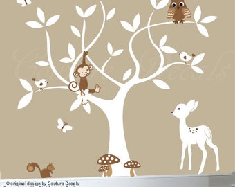 Nursery jungle decal set - white children's vinyl tree wall decal includes owls - 0191