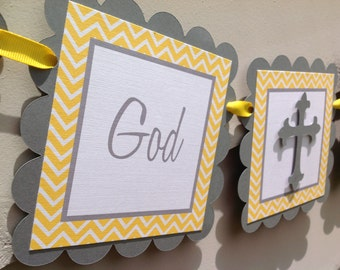 God Bless Baptism Banner Grey with Yellow Chevron Stripes