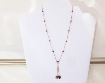 Vintage Sterling Silver Bead Necklace with Red Stones