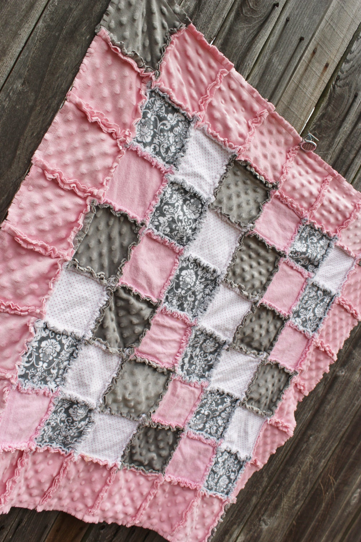 Gorgeous Pink Amp Gray Damask Rag Quilt Blanket Light Pink