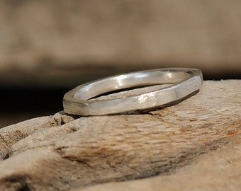 Fine Silver Ring - Carved Geometric Band