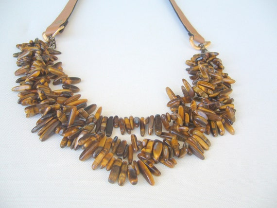 tiger eye necklace multi strand leather cord by