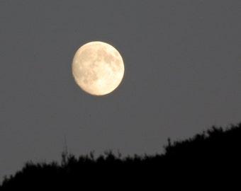 Nearly Full Moon Photo, Grey and Gold Moon phase wall art, Night sky moon above hillside image, winter sky