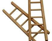 Mini Wooden Ladder - Doll House Craft Accessory - Plain 10cm High - Single