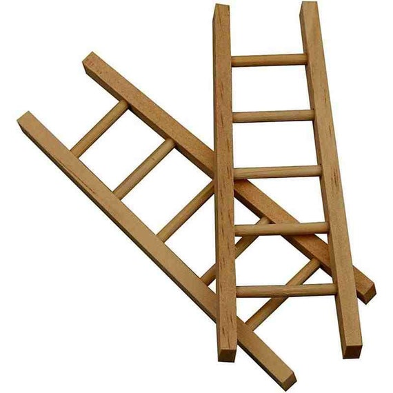 mini wooden ladder doll house craft accessory plain 10cm