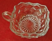 """Vintage FOSTORIA AMERICAN NAPPY 4 inch Square Glass Dish With Handle Ca 1940s, 2"""" Deep, Perfect Condition -"""