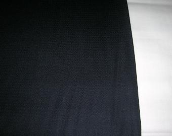 "Vintage ""1969"" Black Wool Suiting Fabric Jet Black 100% Wool London Raeford Worsted Co. 60"" Wide 4+ Yds"