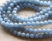 6mm Angelite Round Polished Semi-Precious Beads, Half Strand (IND2C65)