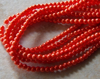 4mm Orange Glass Pearls, 100 PC (INDOC086)