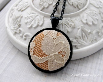 Fabric and Lace Pendant Necklace Round Pendant Necklace Fabric Jewelry Fabric Necklace One of a Kind Unique Necklace Copper Silk Ivory Lace