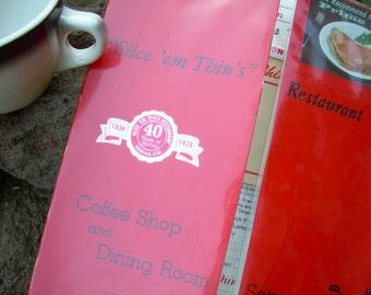 Retro 70's Coffee Shop Diner Menu - Slice em Thins - Richfield UT
