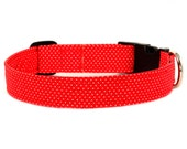 Dog Collar - Polka Dots - Cat Collar - Rockabilly - Bettie - Red and White Polka Dots