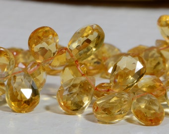 Citrine 8X6 mm Faceted Citrine Beads Natural  Gemstone Briolette Jewelry Making Supplies