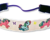NOODLE HUGGER Non slip ribbon headband - My Little Ponies - 7/8 inch (running, working out, everyday: women and girls)