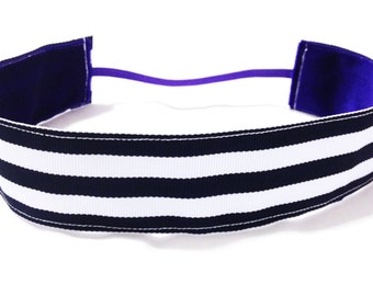 NOODLE HUGGER Non slip ribbon headband - navy blue and white stripes - 1.5 inch (running, working out, everyday: women and girls)
