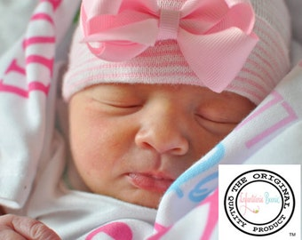 NEWBORN GIRL HAT with bow