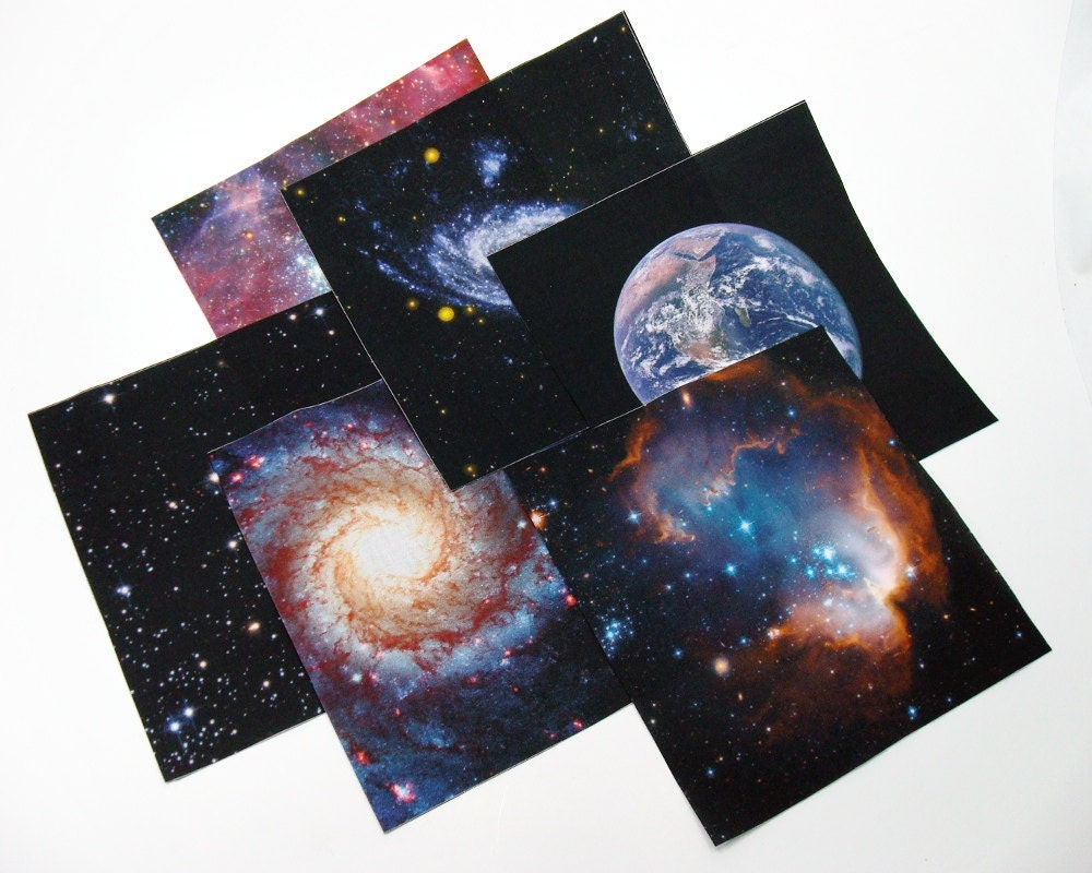 Space fabric quilt squares 6 pack 7 inch galaxy for Space fabric