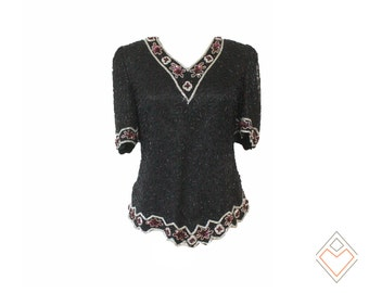 1980s silk beaded top // 80s vintage party top in black with silver and bordeaux trim // size medium - large