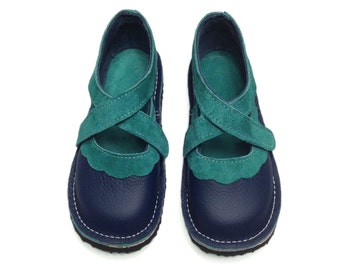 Handmade leather children's shoes.  Girls shoes, toddler shoes, kids shoes.  Navy blue and jade green.