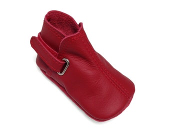 Lambswool lined red leather soft soled baby boots.  Handmade red leather baby shoes.
