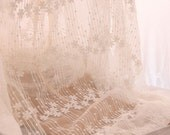 gauze lace fabric in ivory, French embroidery lace fabric, bridal fabric lace, rural wind lace fabric, vintage lace fabric