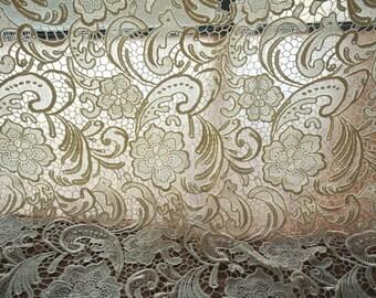 Ivory Lace Fabric, Crochet Lace Fabric , Bridal Lace Fabric,Wedding Gown Lace Fabric