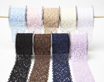 2.5 Inch Elastic Lace Ribbon by the Yard 9 Colors