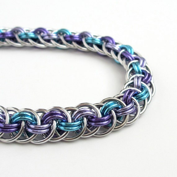 Chainmail bracelet, Viper Basket weave in turquoise, lavender, and purple