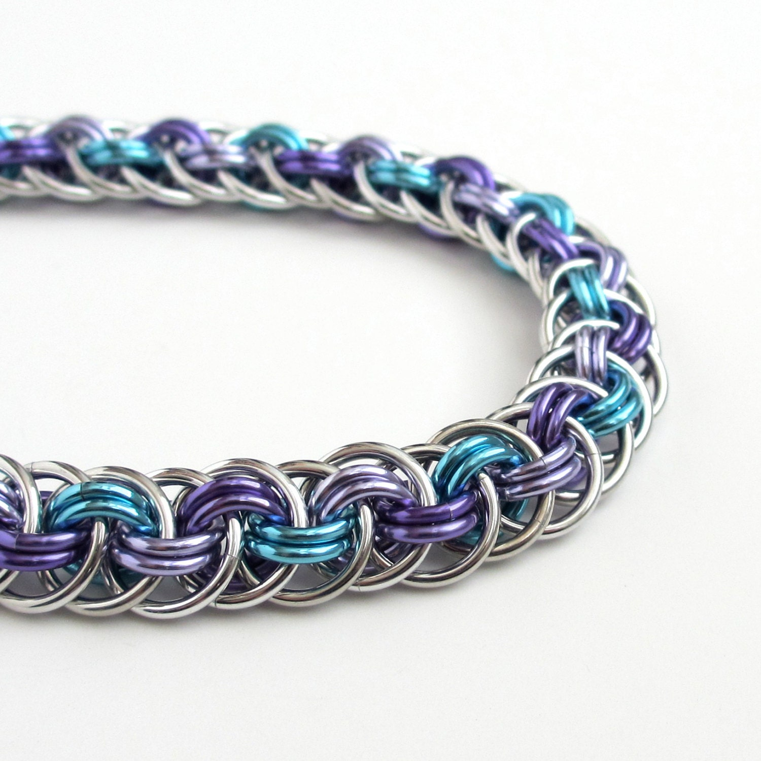 How To Basket Weave Bracelet : Chainmail bracelet viper basket weave in turquoise lavender