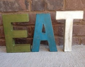 "8"" Painted Distressed Letters.  EAT letters for your Home decor! Typography. Distressed Painted Letters. Vintage Letters."