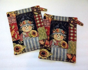 Pot Holders - Set of Two - Scarecrow Print - Fall Colors - Halloween