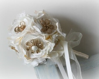 Ready Made - Brooch Bouquet -  Satin Flower  Bouquet - Bridal Bouquet -  Antique Brooch Bouquet