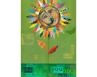 Collage art, original collage, Mother and Child, Sunflower Daisy, ORIGINAL PAINTING  by Elizabeth Rosen