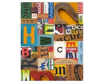 PRINT 8x10   Vintage Sign Letters typography collage assemblage    by Elizabeth Rosen