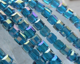Crystal Cube Bead Teal AB 4mm 1Strand