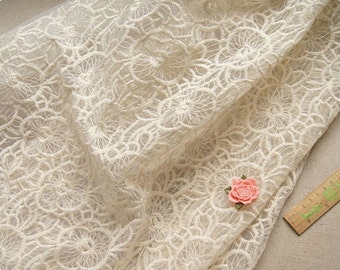 ivory organza lace fabric, embroidered floral lace, embroidered fabric lace, bridal lace fabric