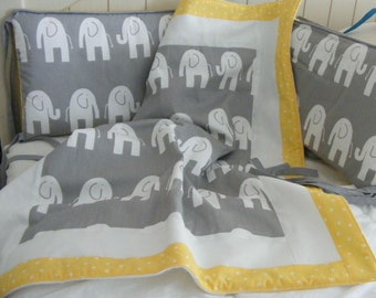 Baby Blanket Pictureframe Yellow Grey Elephants with Dots